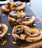 Beef Crostini, Orange Zest, Toasted Pumpkin Seeds