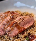 Wild Duck Breast with Chili Glaze and Wild Rice