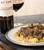 Red Wine Infused Beef Stroganoff with Mushroom Medley