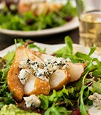 Roasted Pear and Blue Cheese Harvest Salad with Balsamic Vinaigrette