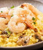 Mushroom Risotto with Prawns and Saffron