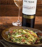 Roasted Brussel Sprout Salad with Apples, Bacon and Toasted Pecans