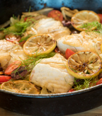 Halibut with Fennel, Olives and Cherry Tomatoes