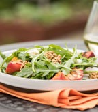 Grilled Peach and Arugula Salad with Feta and Spicy Seed Brittle