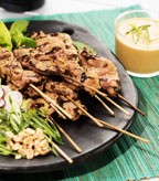 Pork Satay with Cucumber Lettuce Wraps and Zesty Peanut Sauce